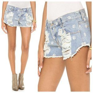 MinkPink Sweet Daisy Distressed Denim Jean Shorts